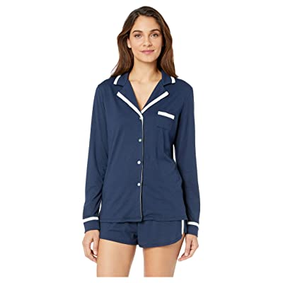 Cosabella Bella Amore Long Sleeve Top Boxer PJ Set (Navy Blue/Moon Ivory) Women