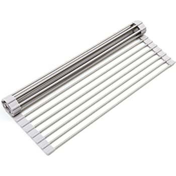 "Surpahs Over The Sink Multipurpose Roll-Up Dish Drying Rack (Warm Gray, Large - 20.5"" x 13.1"")"