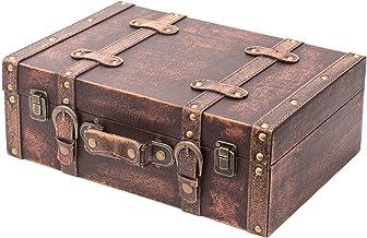 HMF VKO103 drewniana walizka w stylu vintage, 38 x 26 x 13 cm, duża, dekoracja z motywem klasycznym