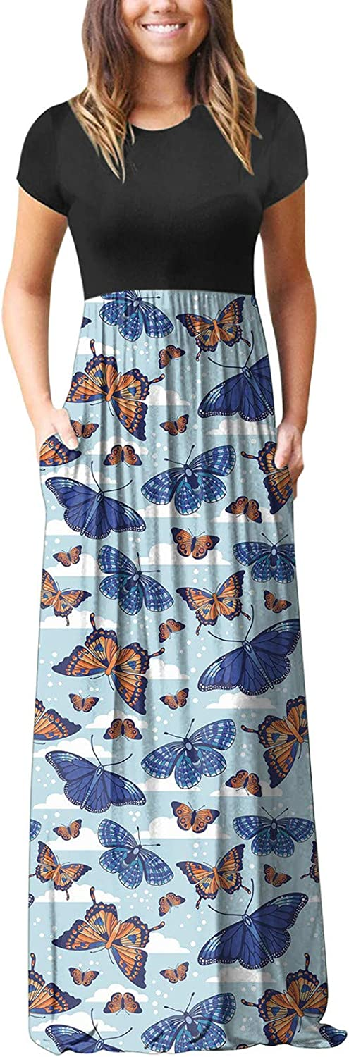 Women's Casual Maxi Dress Short Sleeve Pocket Casual Floral Printing Beach Long Maxi Loose Dresses for Women