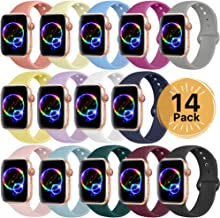 Sport Band Compatible for Apple Watch Band 38mm 40mm 42mm 44mm,EXCHAR Soft Silicone Band Replacement Wrist Strap for iWatch Series 5/4/3/2/1, Nike+, Sport, Edition