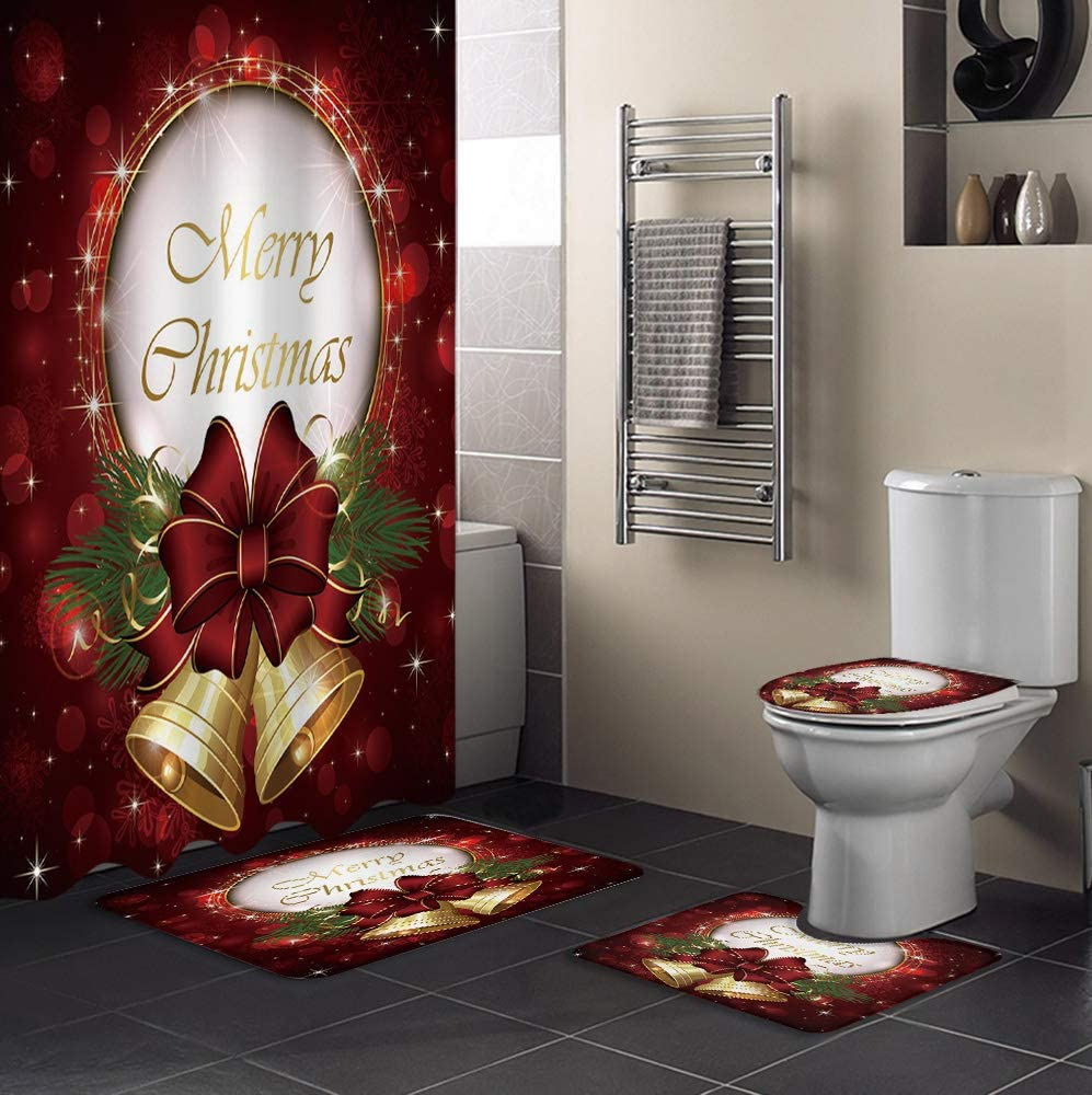 MUSEDAY 4 Award-winning store Piece Shower Curtain Set Lid Non-Slip Toilet with Rug Miami Mall