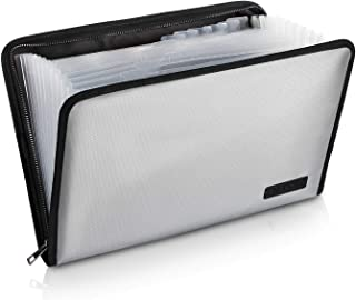 Expanding File Folder Important Document Organizer Fireproof and Waterproof Document Bag with A4 Size 13 Pockets Zipper Closure Non-Itchy Silicone Coated Portable Filing Wallet Pouch(Silver)