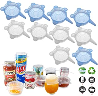 Silicone Stretch Lids (10 Pack, All 2.6inch), Adpartner BPA-Free Seal Can Covers, Reusable Silicone Lids for Regular Mason...