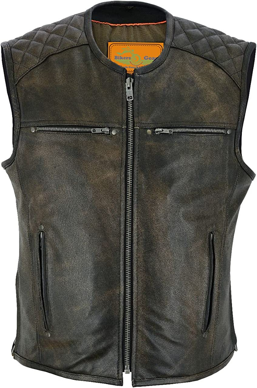 Men's Motorcycle Riding Retro Brown Leather Vest Diamond Design. BUTTER SOFT LEATHER