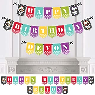 Big Dot of Happiness Personalized Day of the Dead - Custom Halloween Sugar Skull Birthday Party Bunting Banner and Decorations - Happy Birthday Custom Name Banner