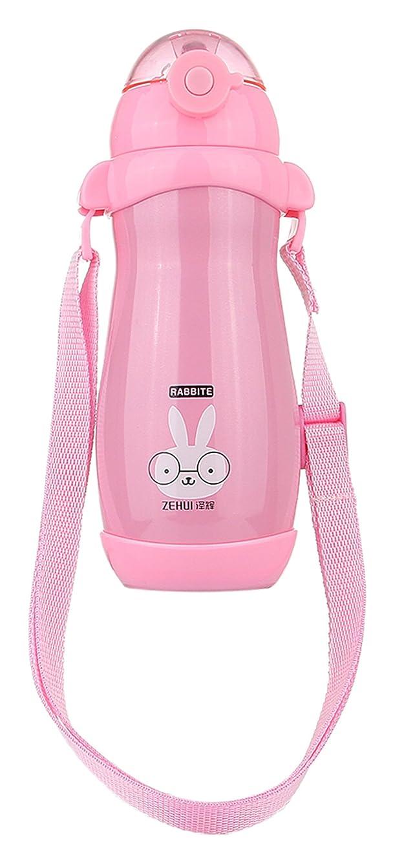 今晩シルエットヘアC-Princess(シープリンセス) C-Princess アニマル ストローボトル 真空カップ 水筒 ウォーターボトル 魔法瓶 保冷 保温 ステンレス ベビー 子供用 ストラップ付 ピンク
