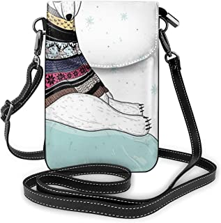 Women Small Cell Phone Purse Crossbody,Hipster Polar Bear With Fair Isle Style Sweater Sitting On Ice Christmas Snowflakes