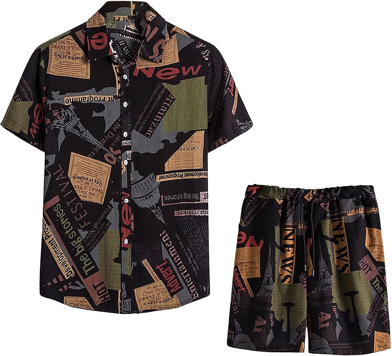 BingYELH Men's Hawaiian Shirts Suit Summer Casual Flower Print Short Sleeve Button Down Cotton Linen Shirt & Beach Short Suit