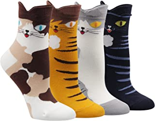 Women Socks Casual Patterned Animal Colorful Funny Casual Cotton Crew Socks