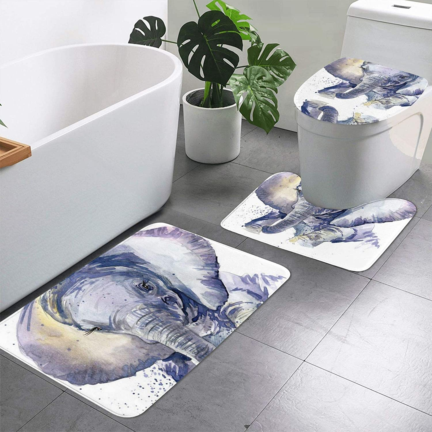 Cute Baby Elephant Watercolor Print Pieces Set Rugs We OFFer Now free shipping at cheap prices Bathroom 3