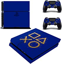 UncleSkins Regular Playstation 4 PS4 Console Dualshock Controller Skin Set Vinyl Decals Stickers Skin Covers-PS4 Blue