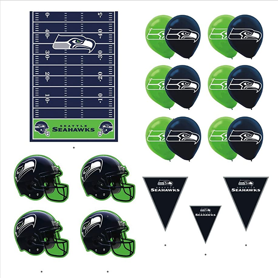 Seattle Seahawks Football Decorations: Wall Helmet Cutouts, Balloons, Pennant Banner & Table Cover