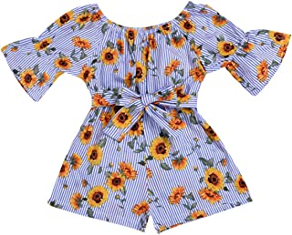 GRNSHTS Baby Girl Sunflower Outfits Toddler Girl Off-Shoulder Shirts Striped Ruffle Crop Tops Floral Bow Shorts Pants
