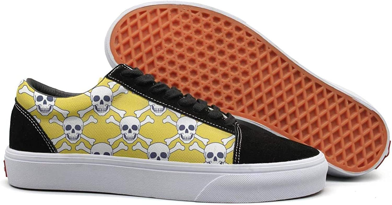 Winging Women Yellow Skull Diamond Cross Comfortable Suede Canvas shoes Old Skool Sneakers