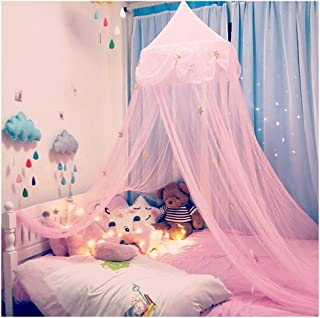 Hidecor Mosquito Net Canopy Bed Curtains Dome Princess Stars Bed Reading Tent for Girls Kids, Indoor Game House(Pink)