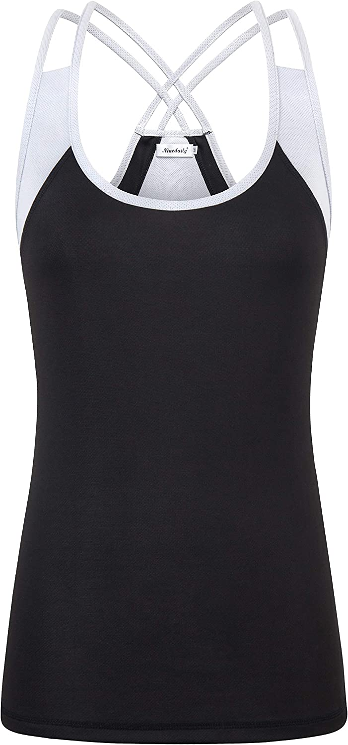 Ninedaily Womens Workout Shirts Open Back Yoga Running Fitness Exercise Tops