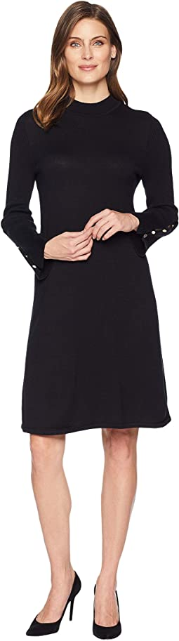 Rib Flare Sleeve Dress