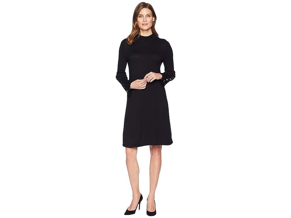 Nine West Rib Flare Sleeve Dress (Black) Women