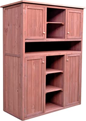 Leisure Season Indoor Outdoor Tall Display Cabinet or Garden Storage Cabinet, Brown