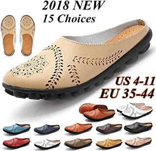 Plus Size Spring Women Fashion Carved Genuine Leather Flat Shoes Comfortable Casual Loafers Ballet Shoes(Blue,43)