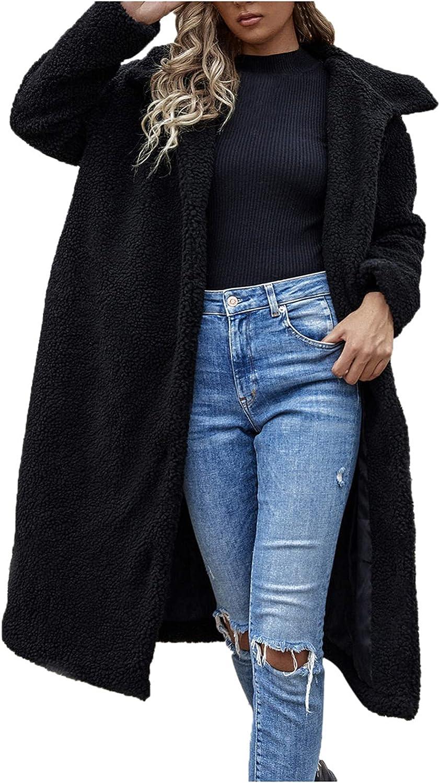 Women's Long Sleeve Fuzzy Open Front Winter Cardigan Coat Artifi