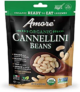 Amore Ready-To-Eat Organic Beans, 4.9 Oz Bag, 8 Pack (71080), Cannellini Beans, 39.2 Oz