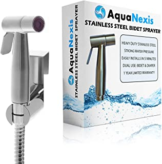 Aqua Nexis Premium Bidet Sprayer for Toilet, Stainless Steel Bathroom Handheld Spray, Best Used for Personal Hygiene and Potty Toilet Hygiene-Perfect Bottom Cleaner Spray and Shower Attachment