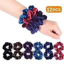 Nymph Velvet Hair Scrunchies Hair Tie Elastic Hair Ring Bobble Ponytail Holder for Women Suitable for All Hair Types 6 Colors, 2pcs/Color Pack of 12
