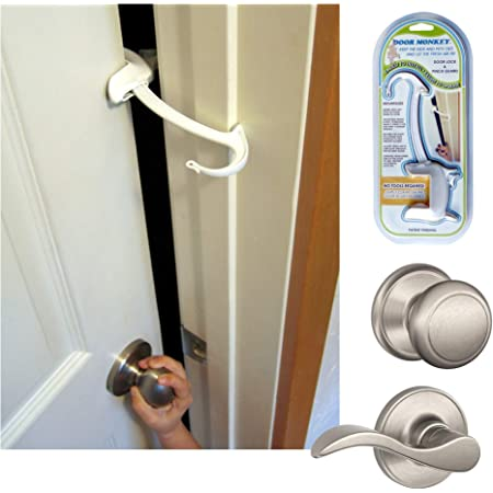 DOOR MONKEY Child Proof Door Lock & Pinch Guard - For Door Knobs & Lever Handles - Easy to Install - No Tools or Tape Required - Baby Safety Door Lock For Kids - Very Portable - Great for Dogs & Cats