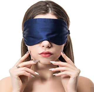 COLD POSH 16mm Silk Sleep Mask,Soft Eye Mask with Adjustable Strap,Eye Cover for Sleeping,Travel,Work,Meditation,Night Blindfold Eyeshade,Navy M