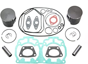 Ski-Doo Rev 600 HO Top End Rebuild Kit Includes Pistons Gaskets Wrist Pin Bearings Standard Stock Bore 72mm 2004 2005 2006 2007