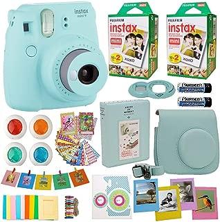 Fujifilm Instax Mini 9 Instant Camera Ice Blue + 2X Fuji Instax Film Twin Pack (40PK) + Blue Camera Case + Frames + Photo Album + 4 Color Filters and More Top Accessories Bundle