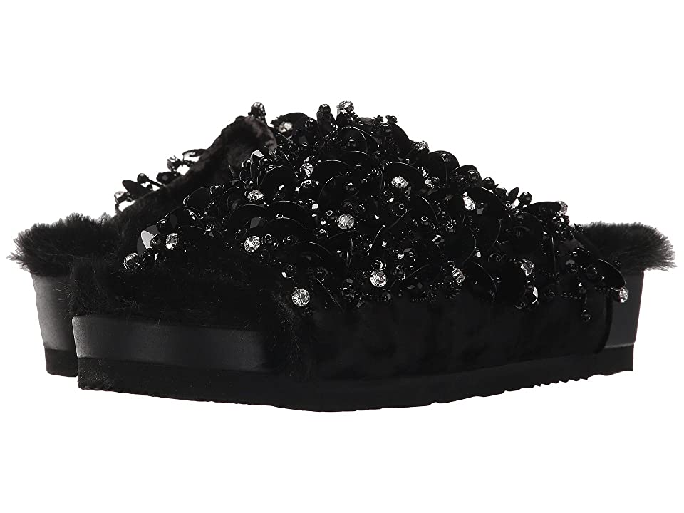 Suecomma Bonnie Embellished Faux Fur Flat Sandals (Black) Women