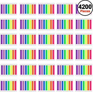 SIQUK 4200 Pieces Flag Tabs Colored Page Markers Sticky Index Tabs Neon Note Tabs Page Flags, 30 Sets 7 Colors