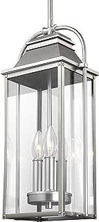 Feiss OL13209PBS Wellsworth Outdoor Lighting Pendant Lantern, Satin Nickel, 3-Light (9