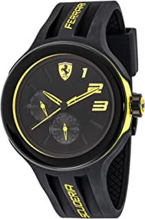 Ferrari FXX Yellow-Accented Men's Black Dial Silicone Band Watch - 830224