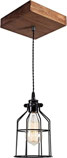 West Ninth Vintage Single Wood Pendant Light - Farmhouse Accent Light - Early American Stain - Black cage