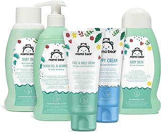 Marca Amazon- Mama Bear Set para los bebés: Gel de baño champú crema para el cambio del pañal aceite crema para la car...