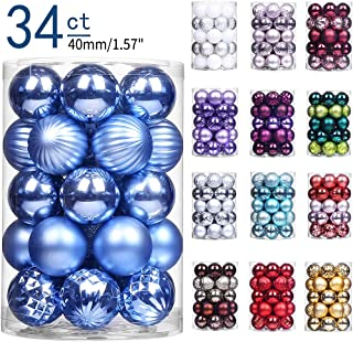 ChristmasExp 34ct Christmas Ball Ornaments Shatterproof Christmas Ornaments Set Decorations for Xmas Tree Balls 40mm/1.57