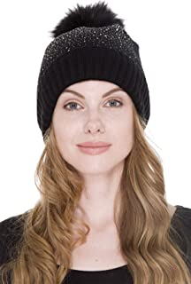 Janice Apparel Women's Warm Sherpa Lined Winter Plain Color Cable Knit Beanie Hat with Rhinestone Studded & Faux Fur Pom Pom