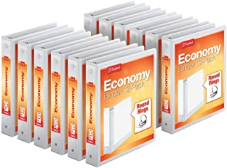 "Cardinal Economy 3-Ring Binders, 1.5"", Round Rings, Holds 350 Sheets, ClearVue Presentation View, Non-Stick, White, Carton..."