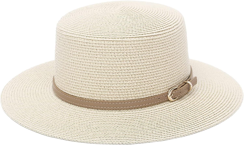 GEMVIE Boater Straw Hat Summer Flat Top Fedora Sun Hat Wide Brim Straw Panama Jazz Hat with Leather Band