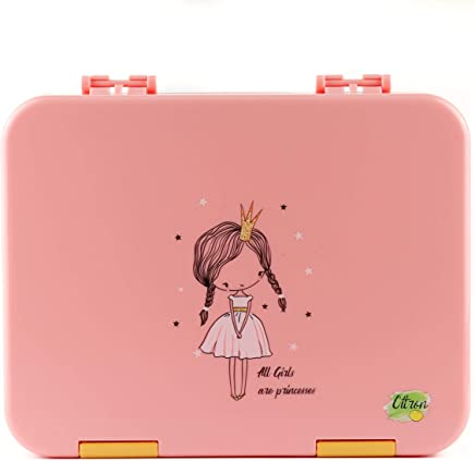 Citron Kids Leak Proof Bento Lunch Box, 6 Compartments, Pink with Princess