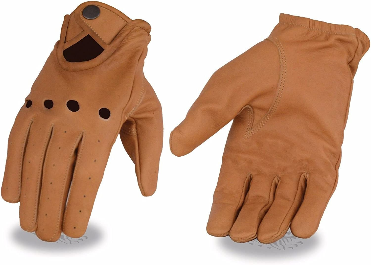 Mens Perforated Saddle tan leather snap cuff gloves riding light weight unlined