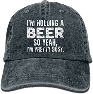 I'm Holding A Beer So Yeah I'm Pretty Busy Retro Washed Dyed Adjustable Cowboy Cap