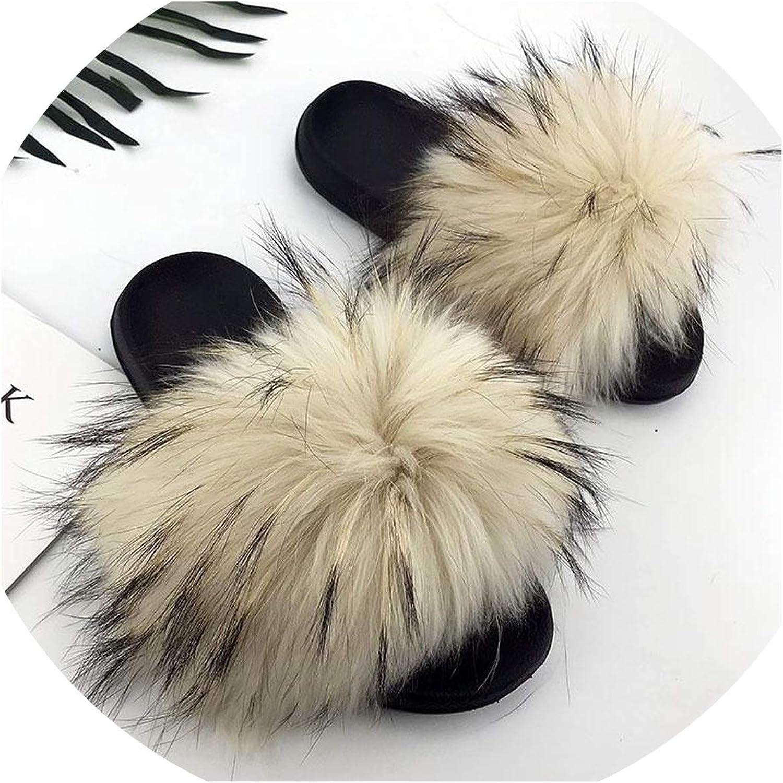 Just XiaoZhouZhou Real Raccoon Fur Slippers Women Sliders Casual Fox Hair Flat Fluffy Fashion Home Summer Big Size 45 Furry Flip Flops shoes,White,9.5