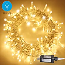 CREASHINE 500 LED Christmas String Lights, 328Ft Outdoor String Lights for Trees, 8 Modes Waterproof Outdoor Indoor Fairy Lights for Christmas Tree, Patio, Wedding, Party(Warm White)