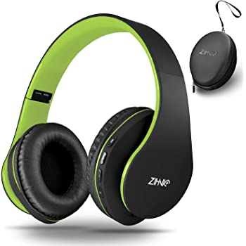 Bluetooth Headphones Over-Ear, Zihnic Foldable Wireless and Wired Stereo Headset Micro SD/TF, FM for Cell Phone,PC,Soft Earmuffs &Light Weight for Prolonged Waring(Black/Green)