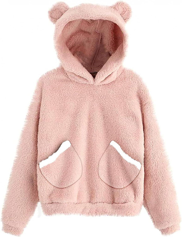 NEEKEY Women Casual Fuzzy Sweatshirts Pocket Hooded Fuzzy Jacket Winter Open Front Fleece Coat Outwear Sweaters for Winter